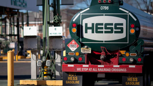 A Hess truck sits at a fueling station at the company's petroleum terminal in Bogota, N.J.