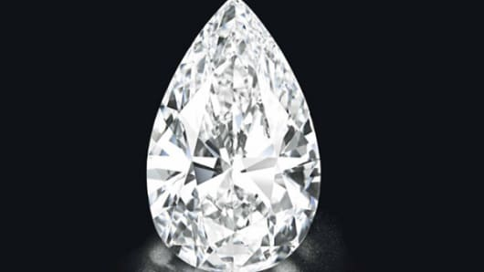 The pear-shaped diamond weighing approximately 101.73 carats recently sold at auction for just under, $27 million.
