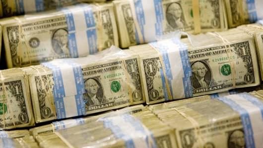 U.S. dollars on display at the NYSE.