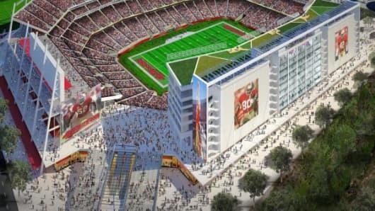 A rendering of the San Francisco 49ers' stadium in Santa Clara, Calif., by HNTB