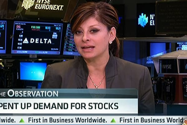 Maria's Observation: Pent up Demand for Stocks
