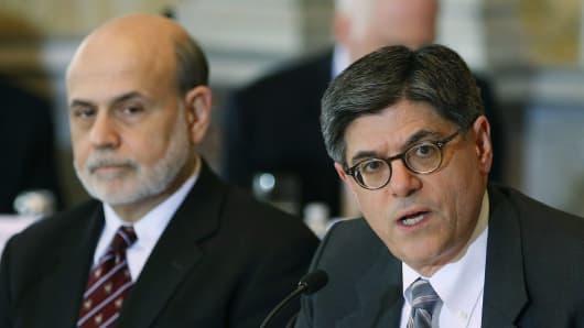 Jack Lew (right) and Fed Chairman Ben Bernanke