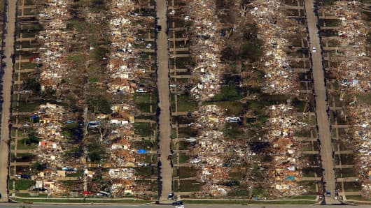 Destroyed houses and other buildings in Moore, Okla.
