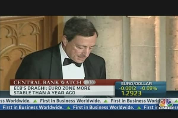 Euro Zone 'More Stable' Than a Year Ago: Draghi