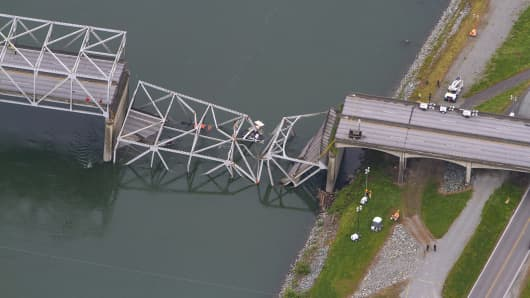 A collapsed section of the Interstate 5 bridge over the Skagit River is seen in an aerial view Friday, May 24, 2013.