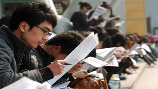 Young jobseekers in China