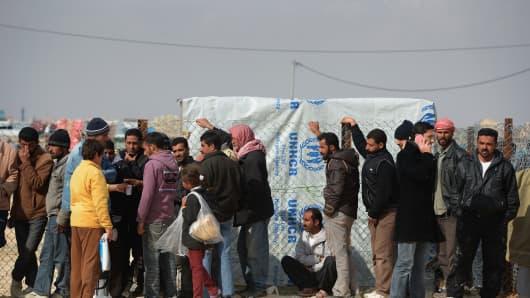 Refugees arrive at the Za'atari refugee camp in Mafrq, Jordan.