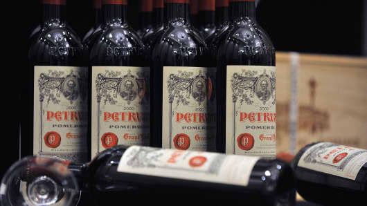 Bottles of French wine Petrus Pomerol.