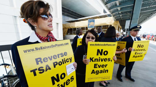 American Airlines employees protest at Los Angeles International Airport.