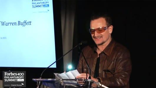 Bono Serenades Warren Buffett At Forbes 400 Summit.