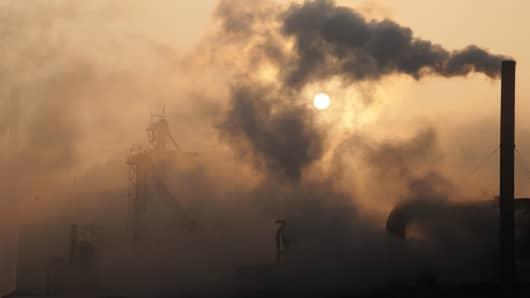 A cement factory releasing heavy smoke in Binzhou, China.