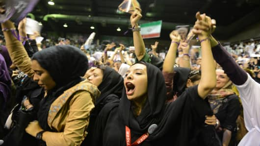 IRN:  Iranian Presidential Candidate Hassan Rowhani Campaigns