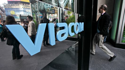 A man enters Viacom headquarters in New York.
