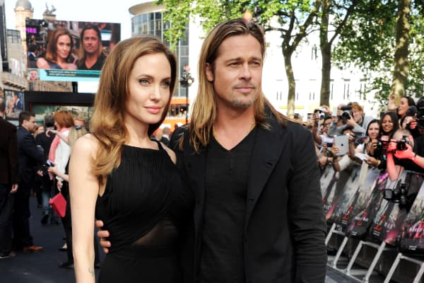 Actors Angelina Jolie and Brad Pitt attend the World Premiere of 'World War Z' at The Empire Cinema Leicester Square on June 2, 2013 in London.