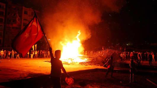Protesters gather in Taksim Square.