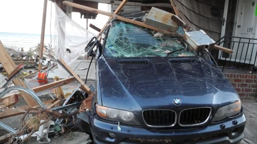 Car damaged by Hurricane Sandy