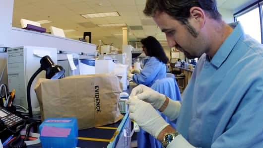 A lab technician at Myriad Genetics in Salt Lake City, Utah.