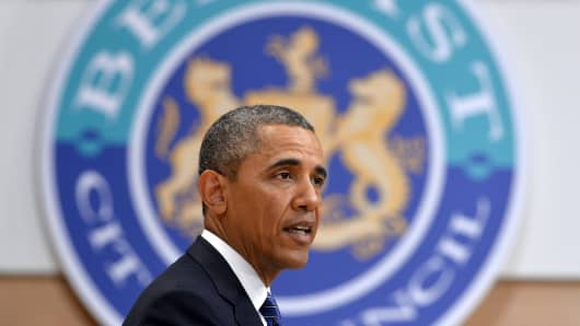 President Barack Obama speaks during an event on June 17, 2013 in Belfast, Northern Ireland. President Barack Obama arrived in Northern Ireland on Monday for the first day of the G8 summit.