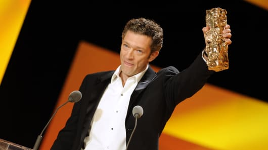 French actor Vincent Cassel receives the award for best actor in 'Mesrine'