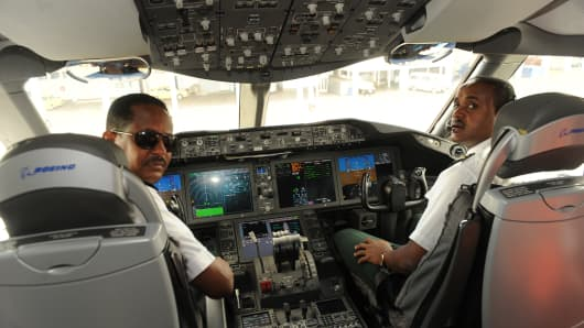 Ethiopian Airlines captains in the cockpit of their 787 Dreamliner after landing in Kenya's capital Nairobi.