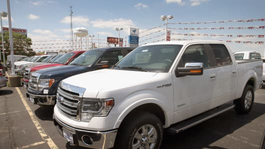 A Ford F150 pickup truck is displayed at Al Piemonte Ford on June 3, 2013 in Melrose Park, Illinois.