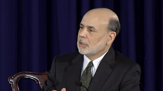 Federal Reserve Board Chairman Ben Bernanke holds a press conference on the Fed's policies on June 19, 2013