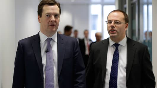 Chancellor of the Exchequer George Osborne and Andrew Bailey, the Chief Executive of the Prudential Regulation Authority (PRA)