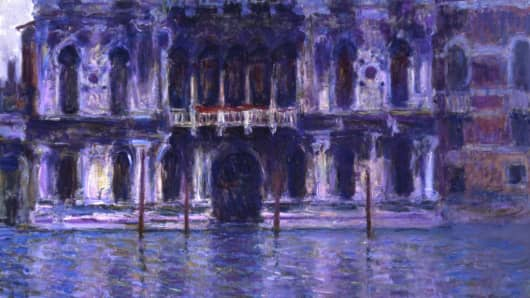 "Monet's 1908 view of Venice. called ""Le Palais Contarini,"" sold for $30.8 million at Sotheby's Thursday."