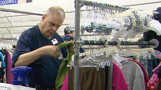 Harold Leigland works at the Goodwill Facility in Great Falls, Montana where he earns $5.46 and hour.