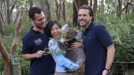 The 'Wildlife Caretaker' Best Jobs in the World finalists made a new friend at Cleland Wildlife Park this week.