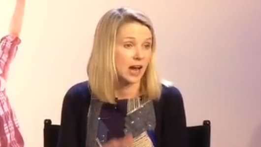 Yahoo CEO Marissa Mayer answers shareholder's questions at the company's shareholder meeting on June 25, 2013.
