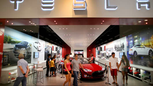 A Tesla dealership in Miami.