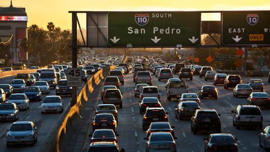Los Angeles freeway traffic.