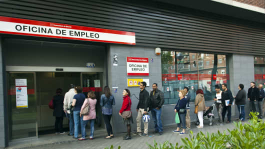 A queue outside a job center in Madrid.