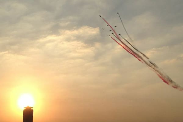 Egyptian military jets steak the skies with the national colors a day after ousting President Morsi and the Muslim Brotherhood from power.