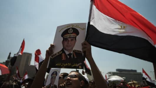 Thousands gather in Cairo's Tahrir Square in Cairo on July 5