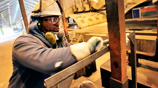 Alcoa Inc. employee works at the company's Mt. Holly production plant in Goose Creek, South Carolina.