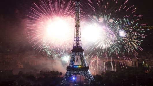 Eiffel Tower fireworks.
