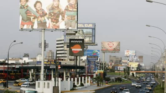 Advertising billboards in Lima, Peru