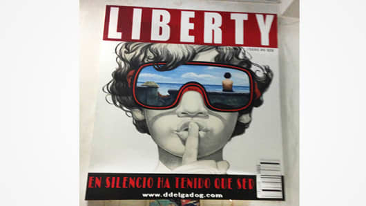 A false magazine cover painting from Cuban painter Dionel Delgado