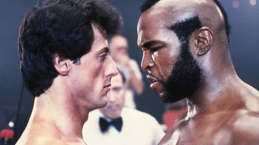 Sylvester Stallone and Mr. T in Rocky 3