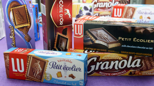 This picture taken on June 10, 2013 shows boxes of biscuits displayed at the food-processing plant of American multinational confectionery, food and beverage conglomerate Mondelez International's brand LU, in Cestas, near Bordeaux, southwestern france