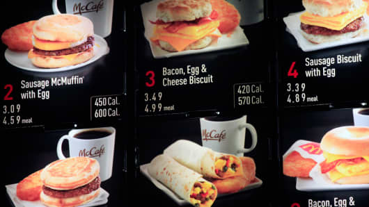 Items on the breakfast menu, including the calories, at a McDonald's restaurant in New York.