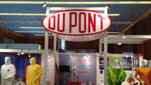 Protective gear made by Dupont on display.