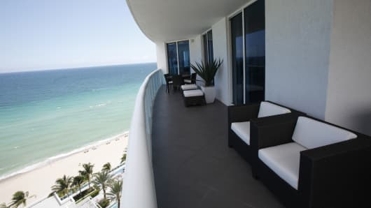 A balcony overlooking the Atlantic Ocean at the Trump Hollywood condominiums in Hollywood, Fla. Latin Americans have contributed to ending the real estate crisis in South Florida by snapping up luxury condos, but recent data shows foreign sales are slowing.
