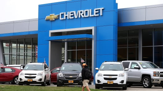 Brand new Chevrolet cars are displayed at a Chevrolet dealership in Colma, California.
