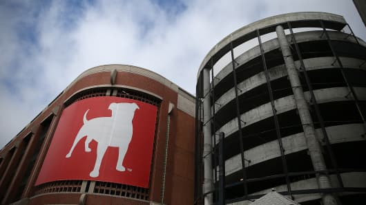 Cars drive by the Zynga headquarters in San Francisco, California.