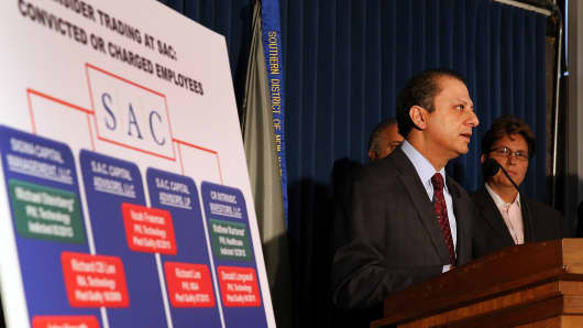 U.S. Attorney for the Southern District of New York Preet Bharara and Assistant Director-in-Charge of the New York Field Office of the FBI announce insider trading charges against SAC Capital July 25, 2013 in New York.