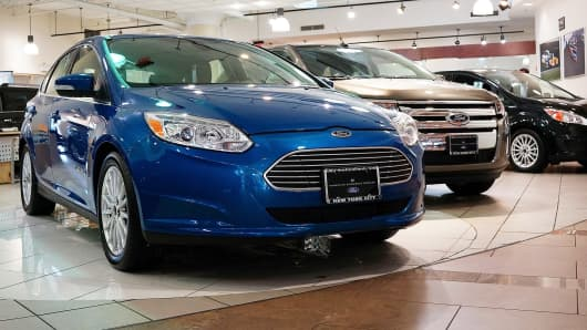 A Ford Focus sits on display at a Manhattan car dealership that sells Ford vehicles in New York City.