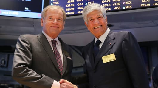 Omnicom CEO John Wren and Publicis CEO Maurice Levy after announcing a merger of their companies